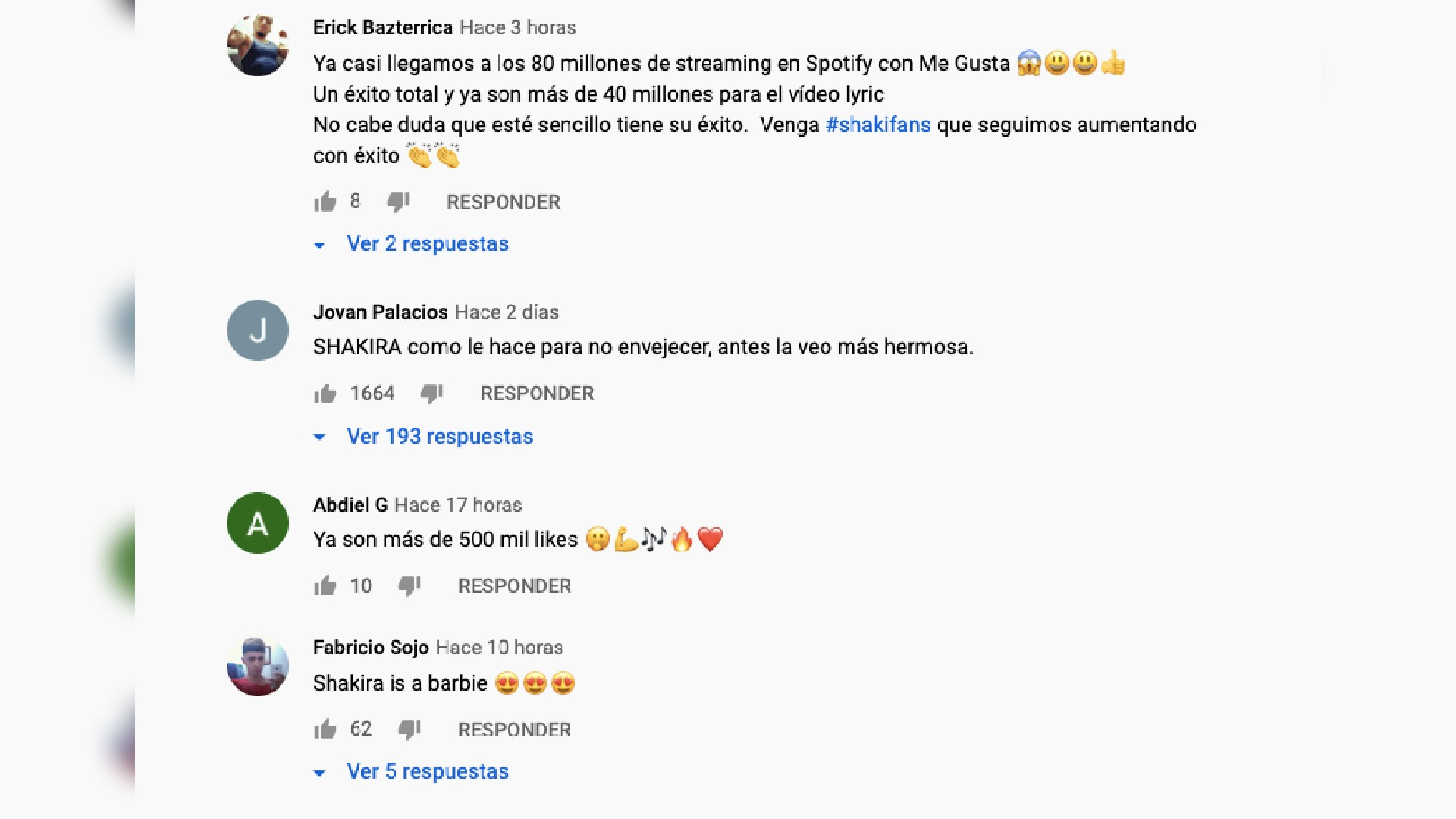 Shakira comentarios