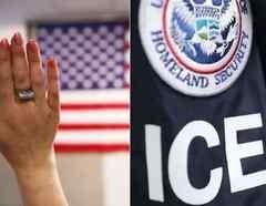 Imágenes de archivo de un proceso de naturalización y de una insignia de ICE.