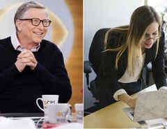 Bill Gates y una joven con computadora