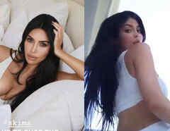 Kim Kardashian y Kylie Jenner posando sexy