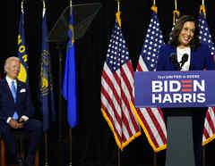 Kamala Harris y Joe Biden participan en primer acto juntos como binomio presidencial