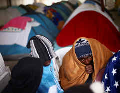 Migrantes de Camerún en la frontera de Tijuana, en 2019.