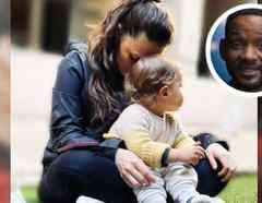 Joy Huerta con su bebé Noah y Will Smith