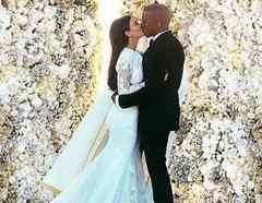 Kanye West y Kim Kardashian en su boda en Italia, en 2014.