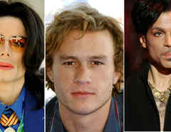 Michael Jackson, Heath Ledger y Prince