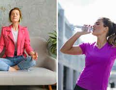 Mujer meditando y tomando agua
