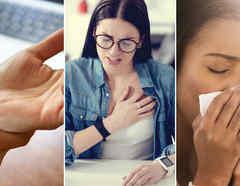 Mujer con dolor de mano, mujer con dolor de pecho y mujer tosiendo