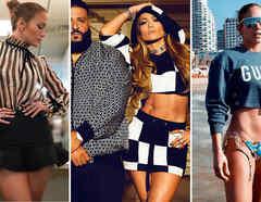 Jennifer Lopez usando minifalda y crop top