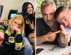 J Balvin con Gianlucca Vacchi, y Priyanka Chopra con Sophie Turner