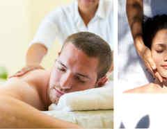 Personas recibiendo masajes