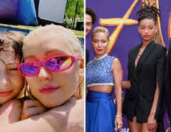 Christina Aguilera y Jada Pinkett Smith con sus hijos