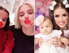 Khloé Kardashian con True y marlene Favela con su hija