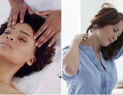 Mujer dándose masaje