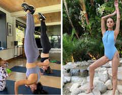 Eva Longoria y Selena Gomez haciendo ejercicio