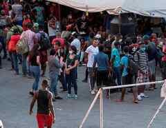 Migrantes haitianos en Monterrey