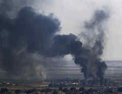 Imagen de archivo de los bombardeos en el norte de Siria, cerca de la frontera con Turquía.