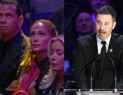 Jenifer Lopez y Jimmy Kimmel en homenaje a Kobe Bryant