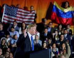 Trump habla de la crisis en Venezuela en febrero de 2019 en Florida.
