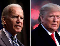 El exvicepresidente Joe Biden, izq, y el presidente Donald Trump.