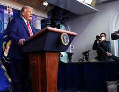 Donald Trump en una conferencia de prensa el 24 de noviembre de 2020.