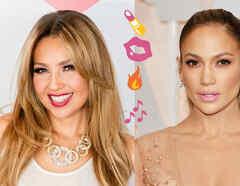 Thalía y Jennifer Lopez mostrando sus labiales en galas