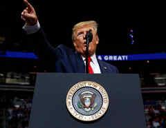 Trump anoche en su discurso de reelección en Orlando