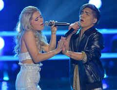 Andrea Serrano y Ericson Gonzalez en las batallas de La Voz US 2