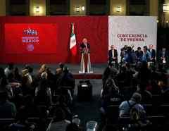 El presidente de México, Andrés Manuel López Obrador, celebra una conferencia de prensa en el Palacio Nacional de la Ciudad de México, México