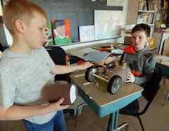 6th Grade Boys Working on Art Project, Wellsville, New York