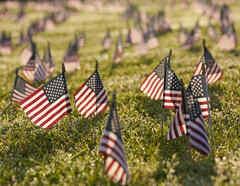 Banderas para conmemorar a las víctimas del COVID-19 en EE.UU.