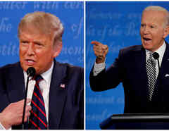 Una imagen combinada muestra al presidente de Estados Unidos, Donald Trump, y al candidato presidencial demócrata Joe Biden, durante el primer debate de la campaña presidencial de 2020, en Cleveland.