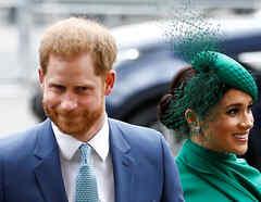 El príncipe Harry de Gran Bretaña y Meghan, duquesa de Sussex, llegan al Servicio anual de la Commonwealth en la Abadía de Westminster en Londres.