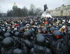 Protestas en San Petesburgo.