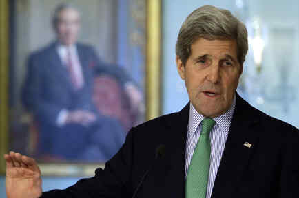 U.S. Secretary of John Kerry holds a joint news conference with Liberian President Ellen Johnson Sirleaf at the State Department in Washington