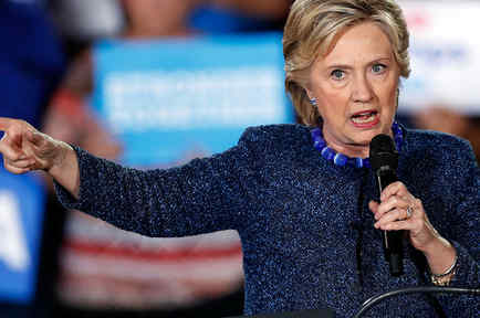 La candidata presidencial demócrata Hillary Clinton en Des Moines, Iowa el Viernes 28 de Octubre del 2016