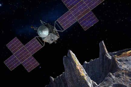 Concepto artístico de Psyche y de la nave de cinco paneles que explorará al asteroide