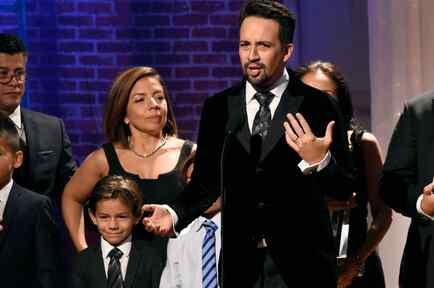 Artista puertorriqueño Lin Manuel Miranda en la entrega de los premios Imagen. Foto de archivo