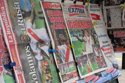 Prensa peruana eufórica por clasificación a Rusia 2018, después de 36 años