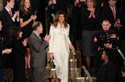 Melania Trump llega al discurso del estado de la unión del Estado de la Unión el martes 30 de enero de 2018