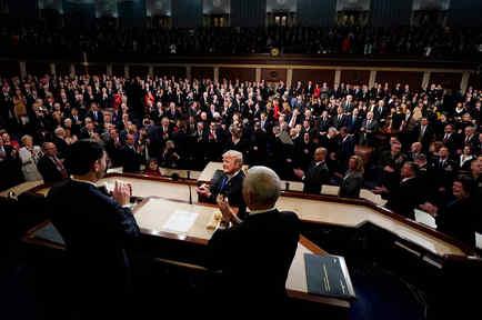 El presidente Donald Trump durante su primer discurso del Estado de la Nación ante el Congreso el martes 30 de enero de 2018