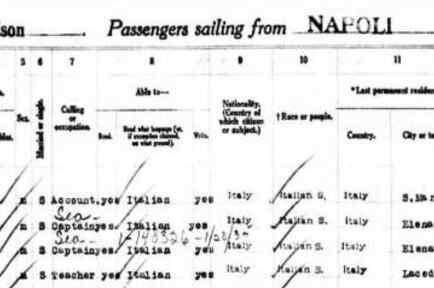 Este manifiesto del barco SS President Wilson de 1923 muestra la llegada de Nicola, el papá del sheriff Joe Arpaio, proveniente de Italia. Nicola dijo a funcionarios que venía a reunirse con un primo. La mamá de Joe también vino en un barco
