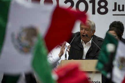 El candidato Andrés Manuel López Obrador durante un evento en la Ciudad de México el 7 de mayo de 2018.