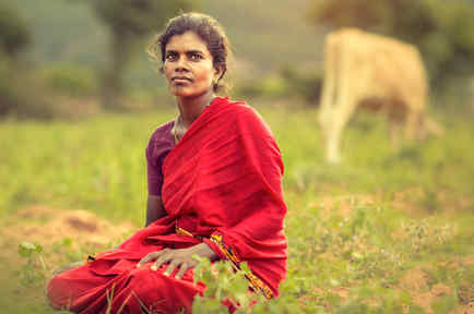 Mujer india sentada en la hierba