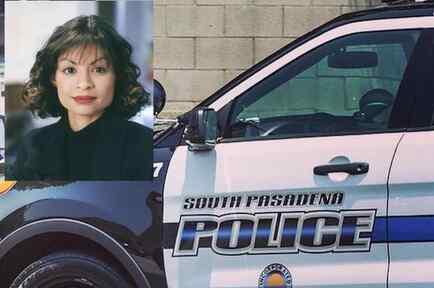 Imagen de archivo de un coche policial en South Pasadena. A la izquierda, Vanessa Márquez