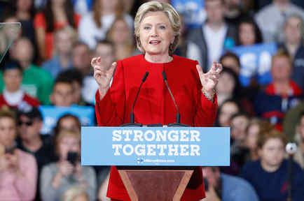 La candidata presidencial demócrata Hillary Clinton en Kent State University en Kent, Ohio el 31 de Octubre del 2016