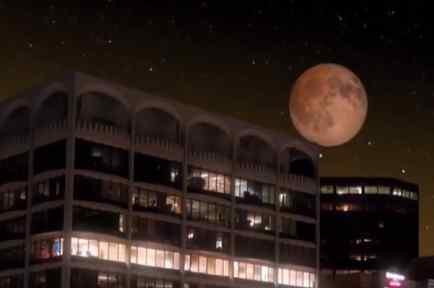 Eclipse lunar visto desde el Casino Shuttle Boat Fire, Florida.