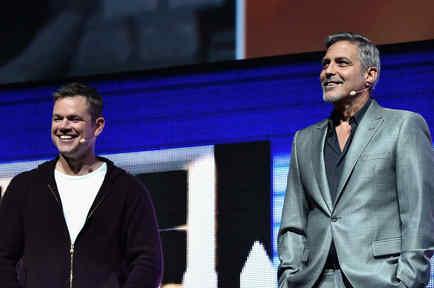 Matt Damon y George Clooney en el CinemaCon 2017
