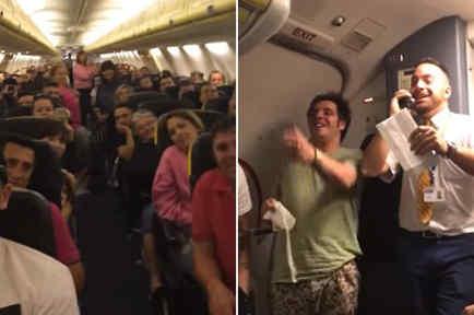 """Azafato cantando """"Despacito"""" durante un vuelo"""