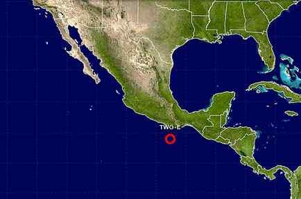 Gráfico de la depresión tropical que se formó el 31 de mayo del 2017 en la costa sur del pacífico mexicano