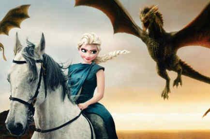 Elsa vestida como Danaerys Targaryen